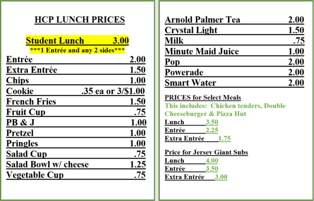 Lunch prices at Hackett Catholic Prep