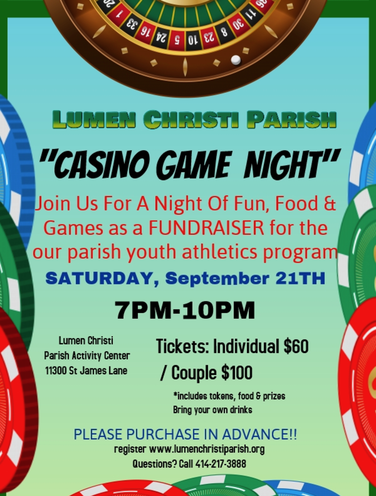 2019 Casino Game Night Flyer