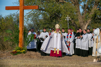 Archdiocese blesses site, breaks ground on Blessed Stanley Rother Shrine