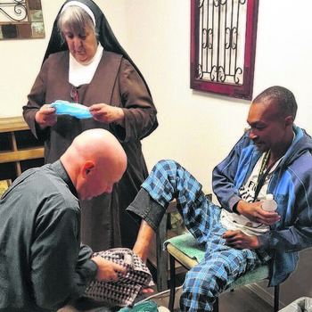 Sr. BJ's foot clinic, shoes help homeless