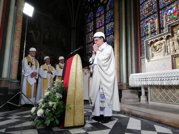 Paris archbishop celebrates first Mass in Notre Dame since fire