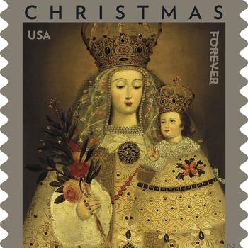 2020 Christmas stamp shows Peruvian painting of Our Lady of Guapulo