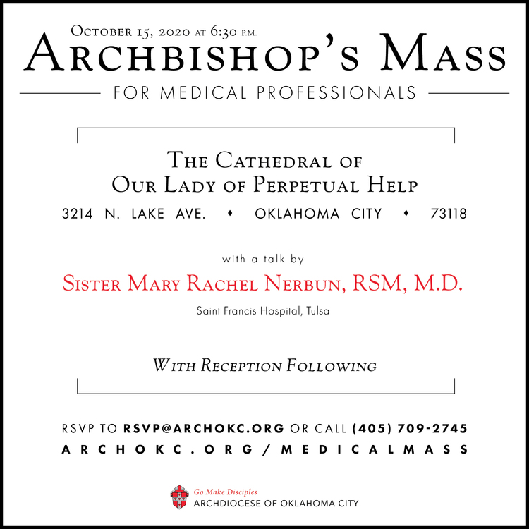Archbishop's Mass for Medical Professionals - October 15th, 2020