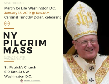 March for Life - NY Pilgrims Mass on Jan. 18 @ 10:30AM