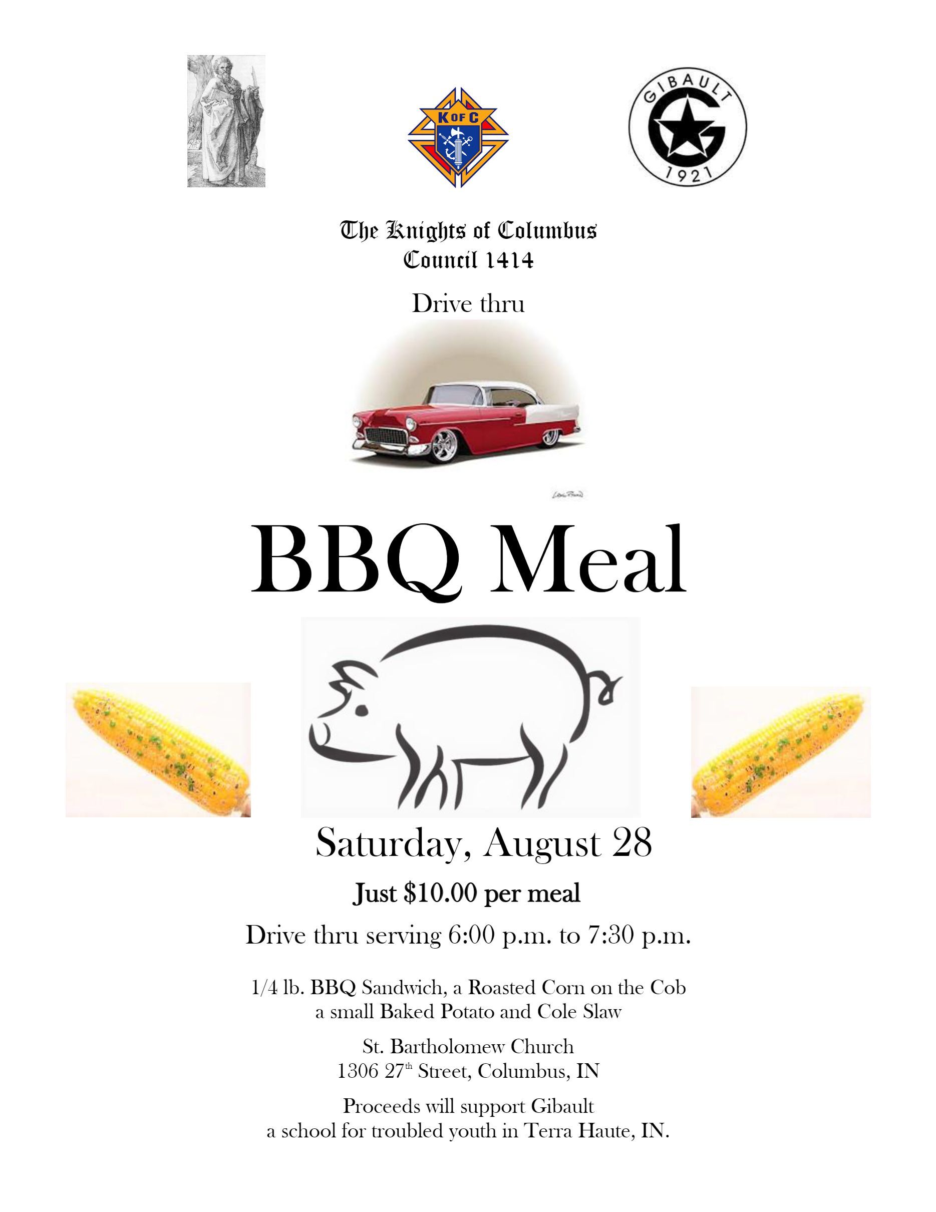Knights of Columbus To-Go BBQ Dinner