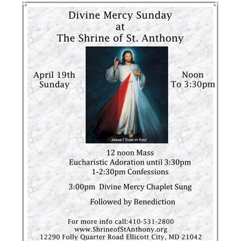 Divine Mercy Sunday--CANCELLED