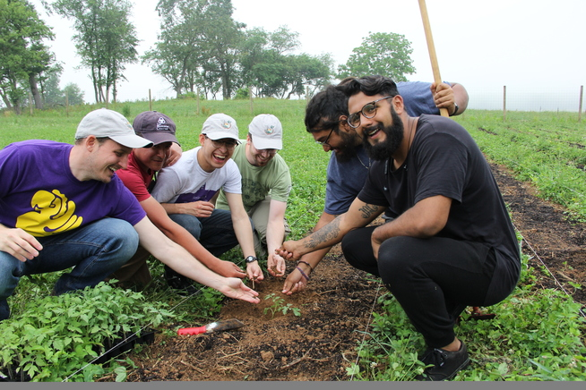 Friars in Formation working the land at Little Portion Farm!