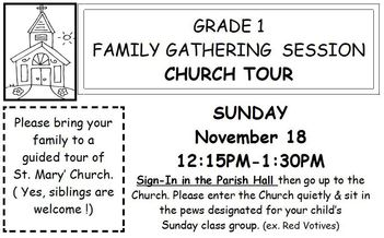 SM Faith Formation: Grade 1 Family Gathering Session