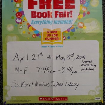 April 29-May 3: Scholastic Book Fair