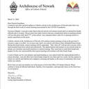Letter from the Diocese of Newark