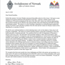 Diocese of Newark Re-Opening Letter