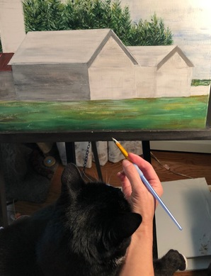 Theodore the cat helping Mrs. Tutela with her painting!