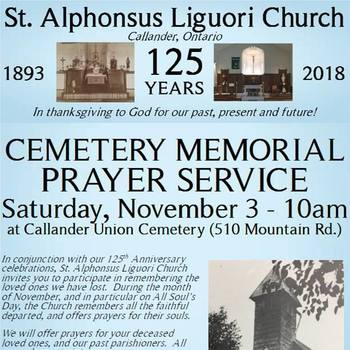 Cemetery Memorial Prayer Service - Saturday, November 3