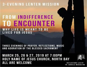 Save the Dates! Three-Evening Lenten Mission