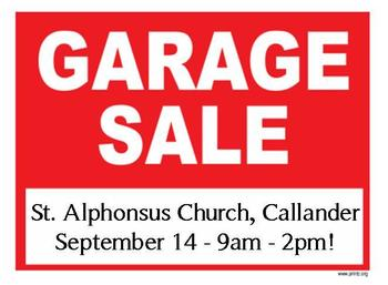 St. Alphonsus C.W.L. Garage Sale - September 14!
