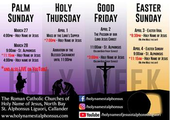 Holy Week 2021 Mass Schedule