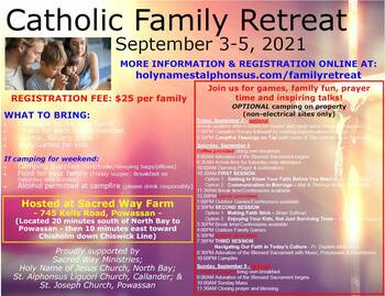 Catholic Family Retreat - Labour Day Weekend!