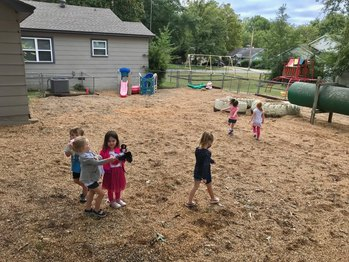 New gravel on our playground