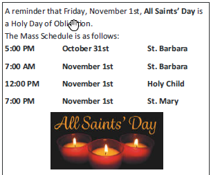 All Saint's Day Mass