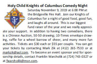 Holy Child Knights of Columbus Comedy Night