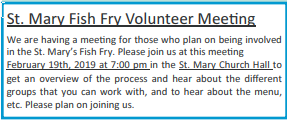 St Mary Fish Fry Volunteer Meeting