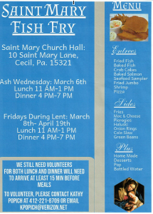 Saint Mary Fish Fry Lunch