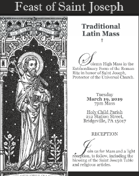 St Joseph Feast Day Latin Mass