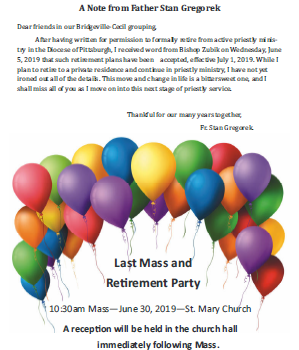 Father Stan's Last Mass and Retirement Party
