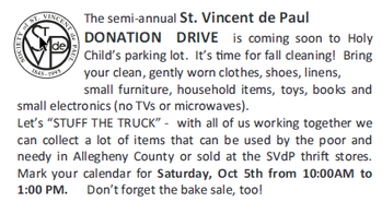 St Vincent de Paul Donation Drive