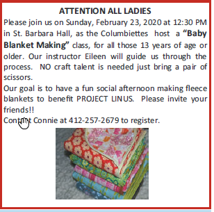 Baby Blanket Making Class