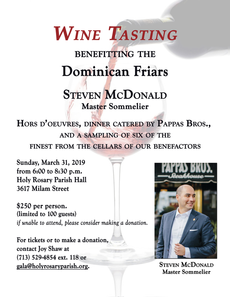 Dominican Friars Wine Tasting 2019