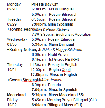 Revised Mass Schedule for week of Sept. 27