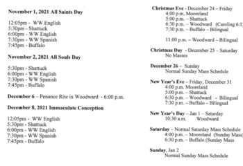 Mass Schedule for Holy Days in November and December