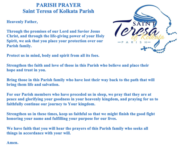 St. Teresa of Kolkata Parish Prayer