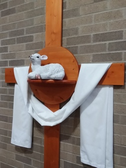 Easter Lamb on Cross on wall at St. Faustina Parish Easter 2019