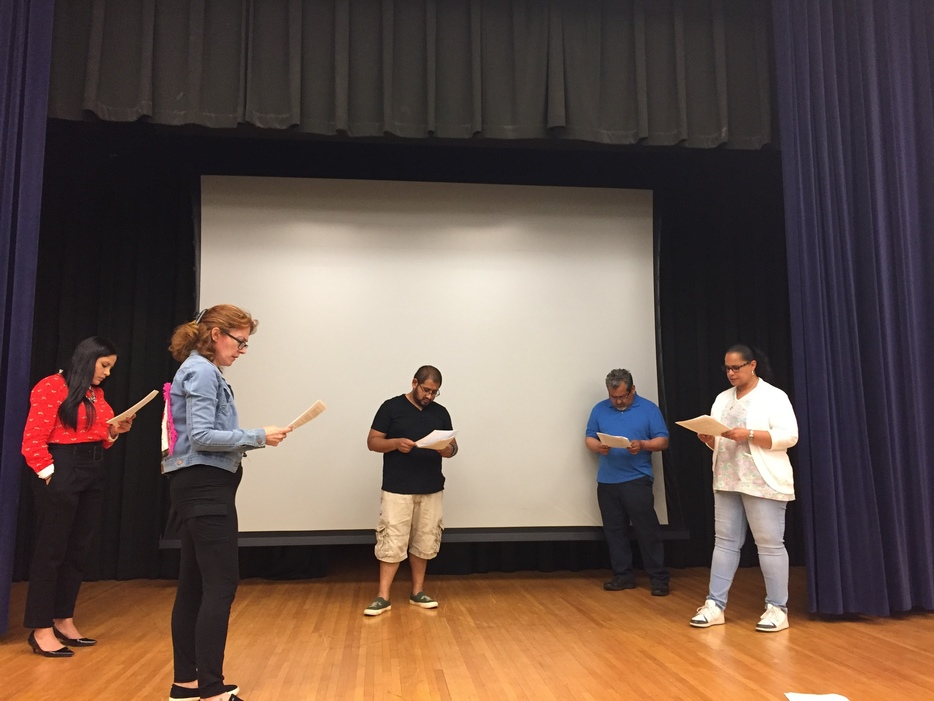 Participants practice a play telling the story of Our Lady of Guadalupe