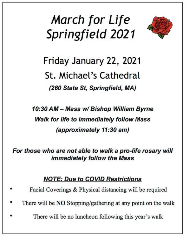 January 22, 2021 @ 10:30 March for Life Mass with Bishop Byrne