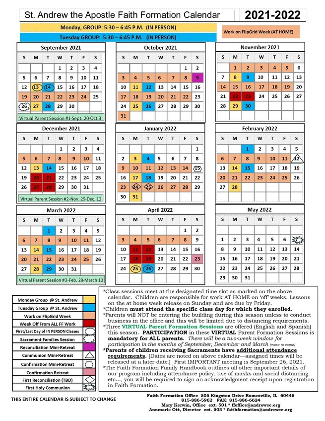 2021-2022 Faith Formation Calendar - Enrollment Documents are Available