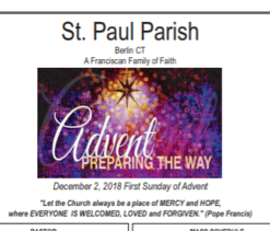 Bulletin for December 2, 2018 - First Sunday of Advent