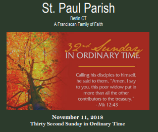 Bulletin for November 11, 2018 (32nd Sunday in Ordinary Time)