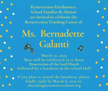 Mass to honor Ms. Galanti