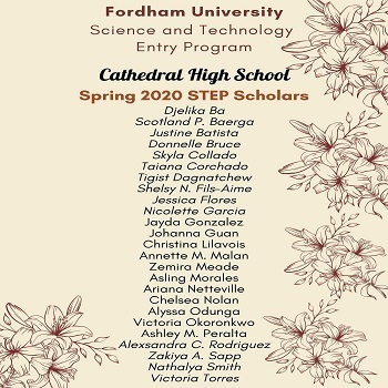 Congratulations to our Fordham STEP Spring 2020 Scholars