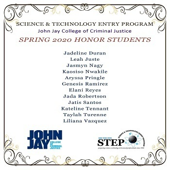 Congratulations to the John Jay College STEP Spring 2020 Honor Students