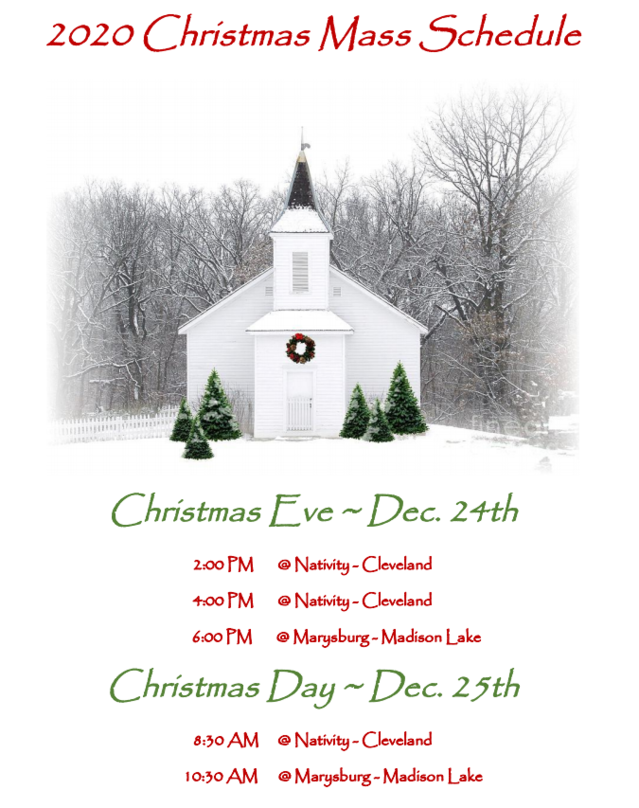 2020 Christmas Mass Schedule