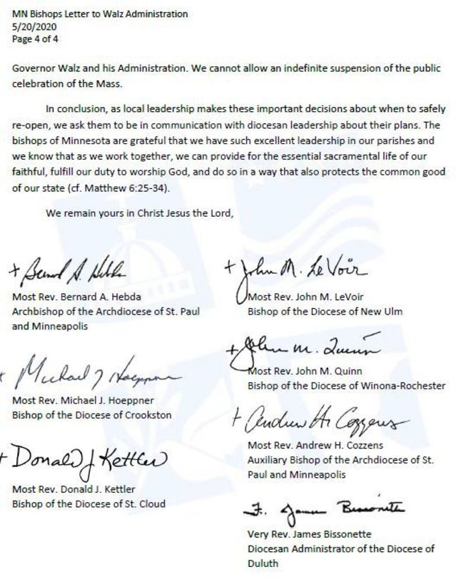 Letter from the Catholic Bishops of Minnesota