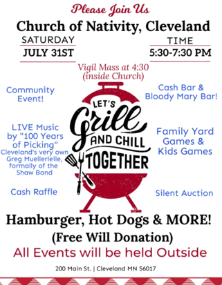 Nativity Grill and Chill Event July 31st 2021