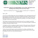 Letter from USCCB regarding document on the Eucharist