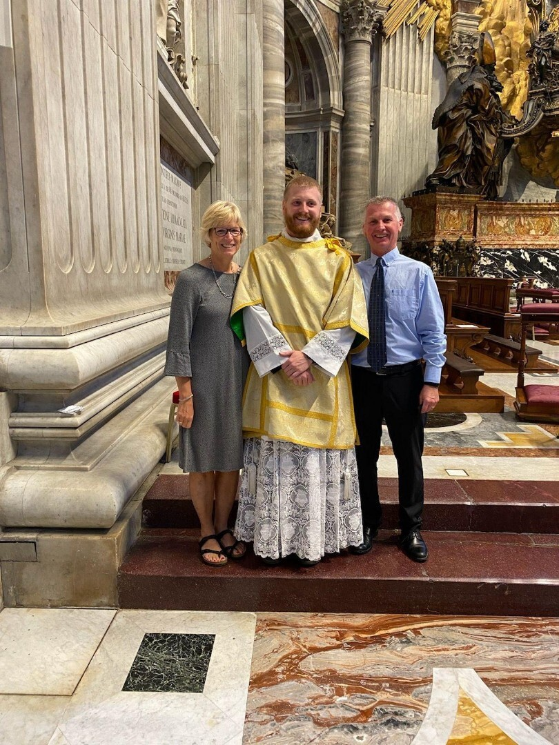 Zach Jones with parents, Chris and Connie, at Deaconate Ordination September 30th, 2021.