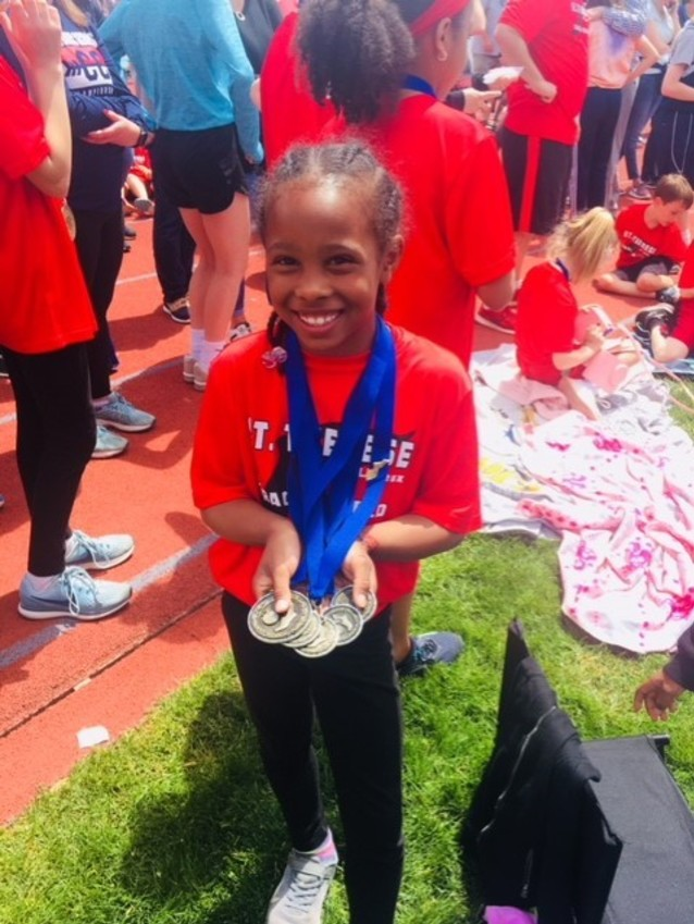 Kennedy Williams (2nd Grade) Kennedy placed- 1st place in the 50,100,200,400 meter and girls relay team.