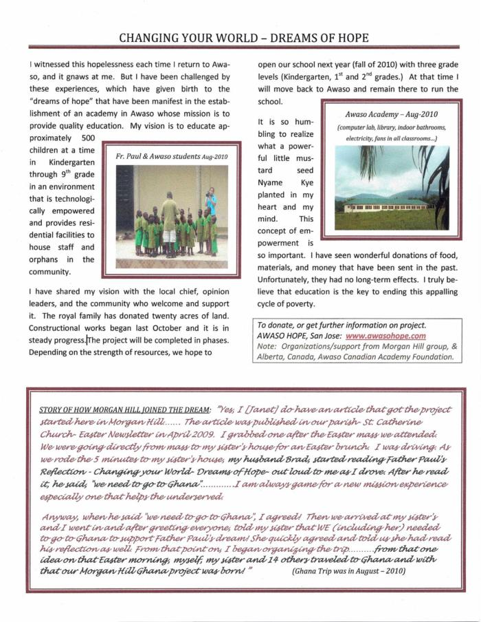 This is the newsletter about Father Paul's Mission, page 2